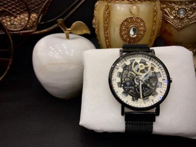 Description- Round With Metal Finish Feature – Unique Dial, Waterproof, Leather Strap Attractive Box